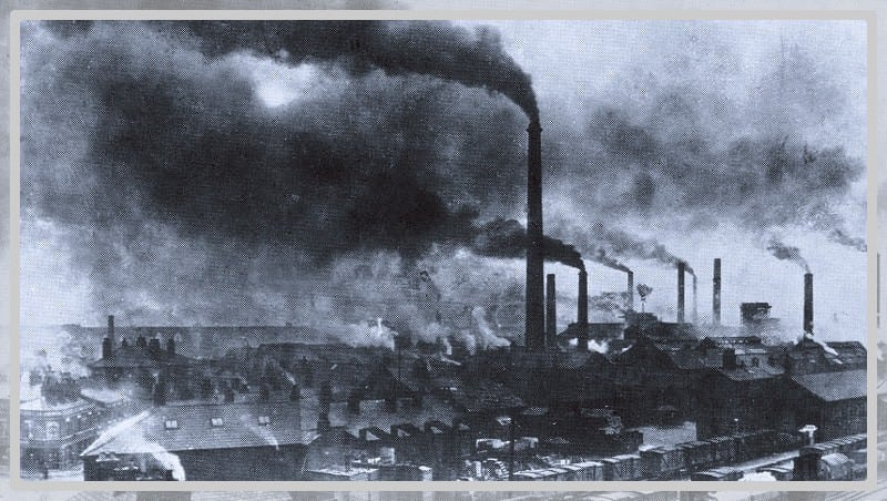 Photo ancienne d'une usine au début vers le 19è siècle