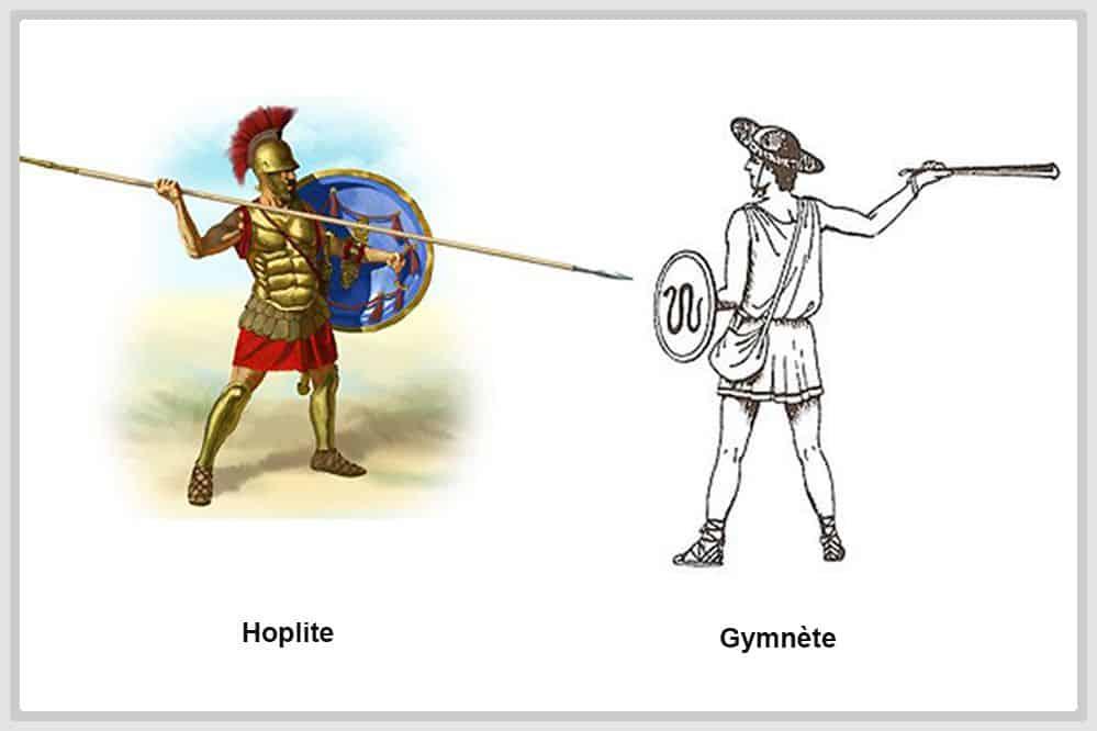 Dessin d'un hoplite et d'un gymnète