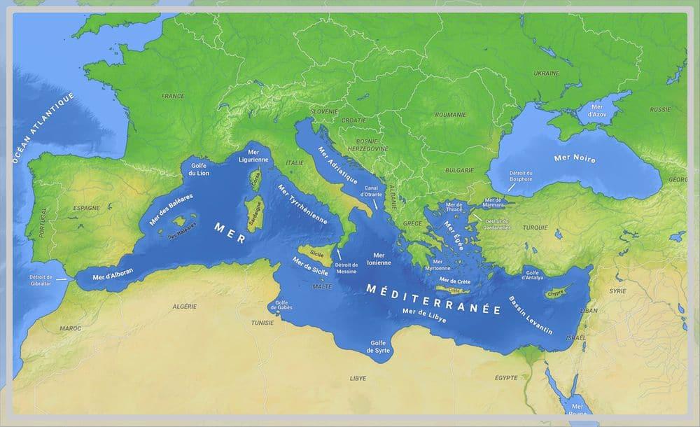Photo carte de la mer Méditerranée